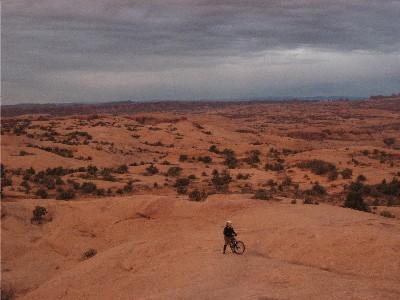 Climbing uphill at slickrock