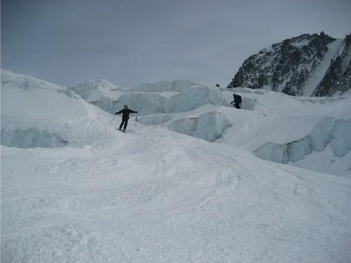 Skiing Glacier d'Argentiere's Seracs