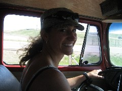 Traci J. Macnamara driving the Old Lady