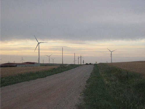windmills on road